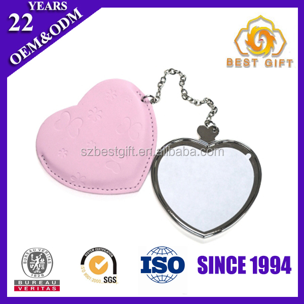 Pink small heart shaped handheld single decorative compact mirrors
