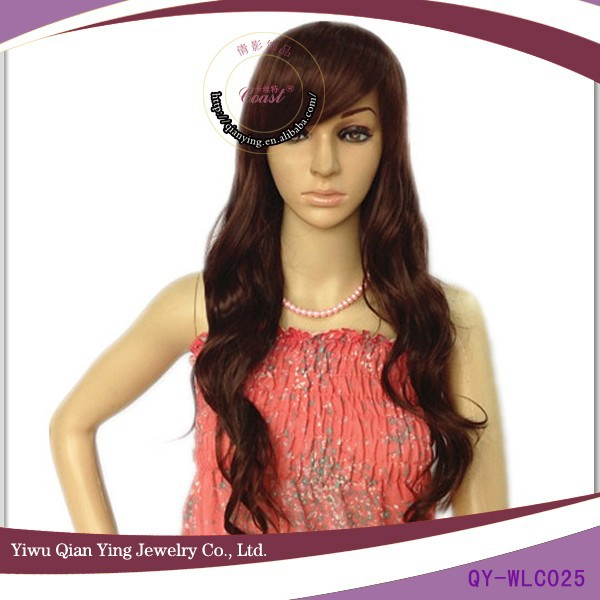 high temperature nature parts long brown synthetic fiber wigs with bangs