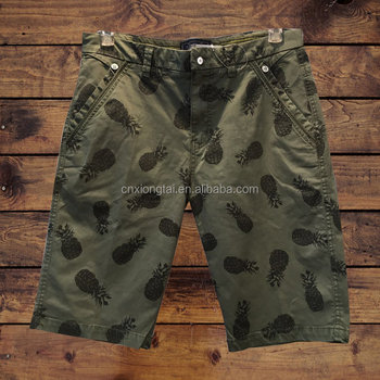 100%cotton twill allover print men's beach shorts