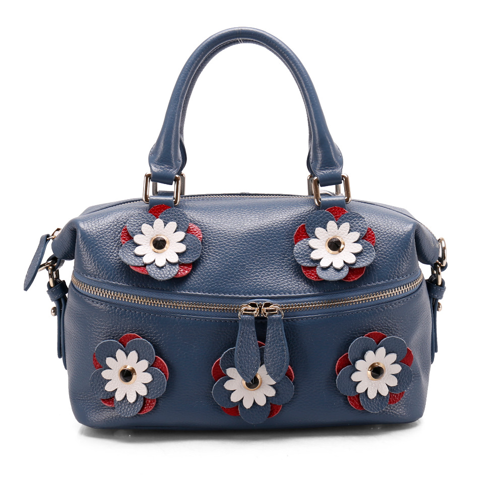 Genuine leather ladies handbag sets applique flower shoulder bag tote bag