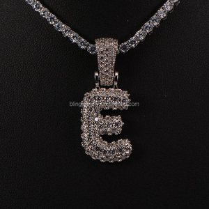 Letter E 14k Gold Micro Pave Initial A-Z 26 letters Pendants
