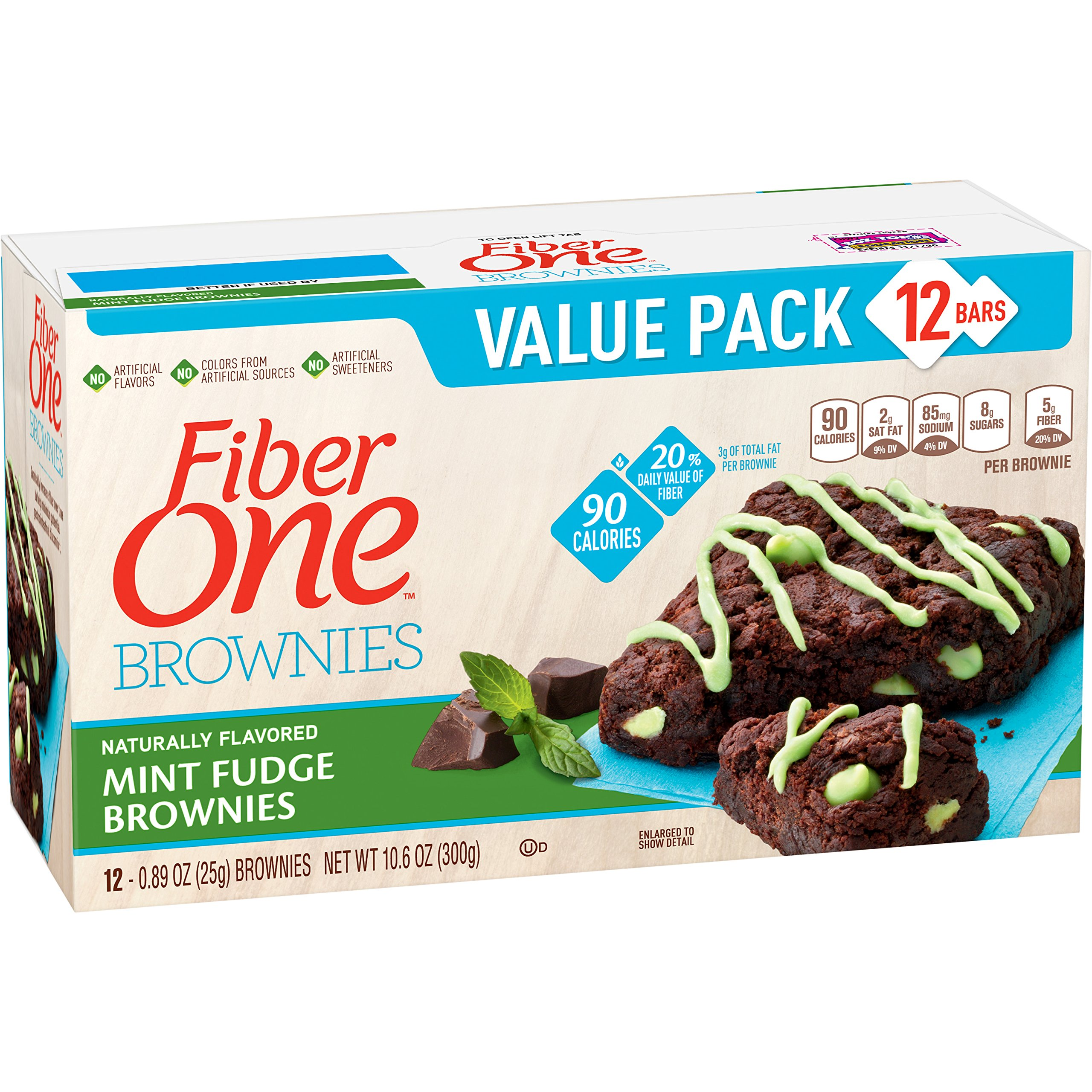 Fiber One Brownies, 90 Calorie Bar, Mint Fudge Brownie, 12 Fiber Bars, 10.6 oz (Value Pack)