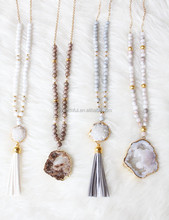 N00936 boho gemstone druzy pendant tassel necklace,gemstone neckalce with big druzy stone bead necklace