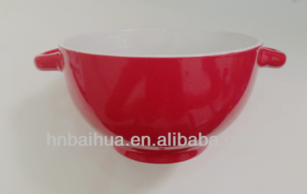 red polished soup bowl ceramic stoneware