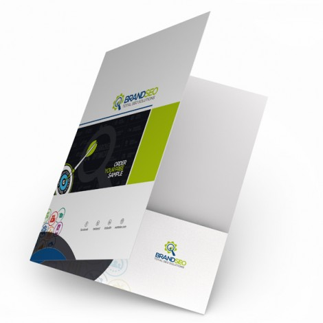 Custom A4 Size Paper File Folder With pocket and Business Slots