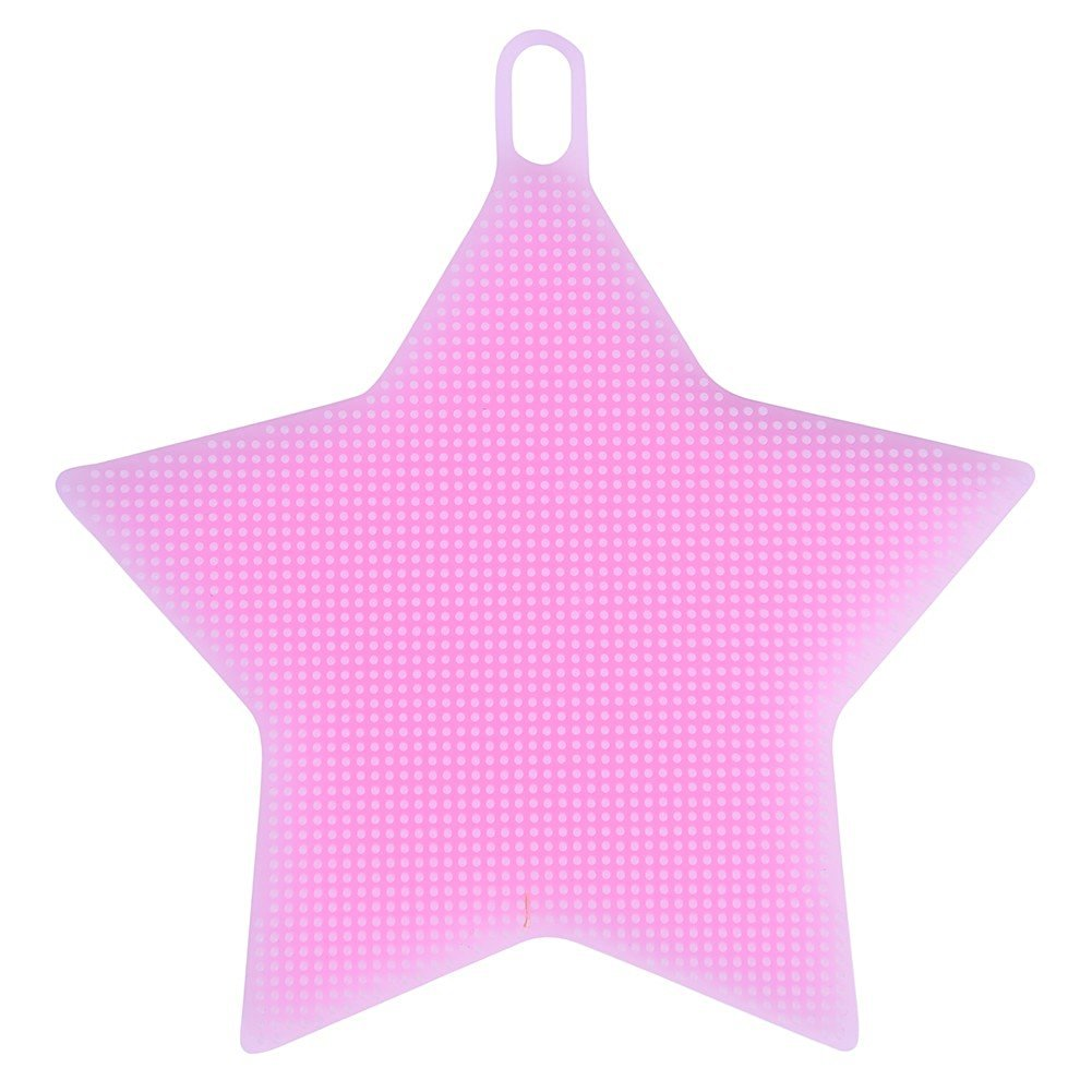 Redcolourful Practical Washing Brush Creative and Fashionable Pentacle Shape Silicone Kitchen Washing Tool(Pink)