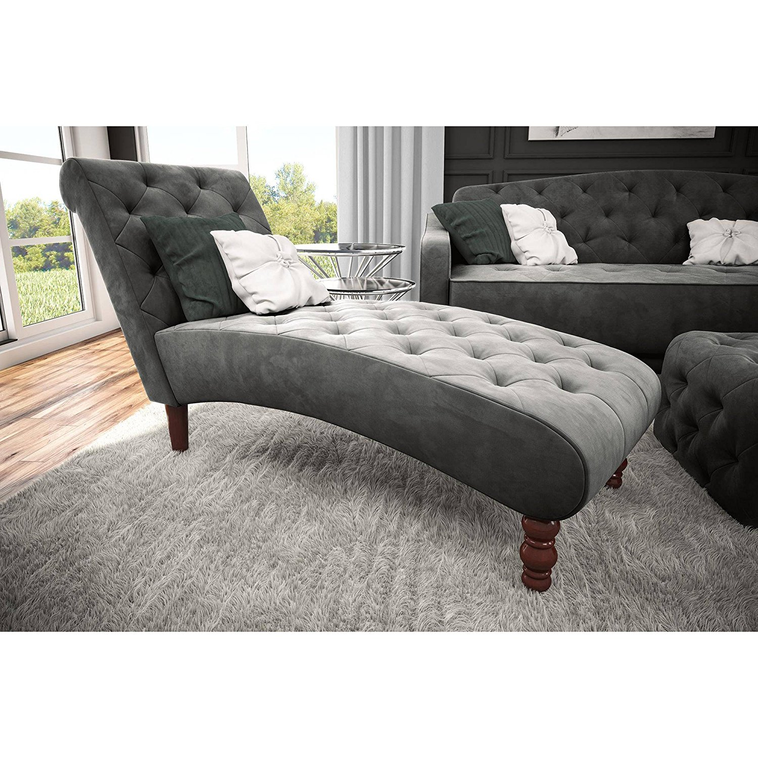 Vintage 18th Century Styled Tufted Chaise, Velvet Upholstery, Inclined Back and Angled Base are Contoured to Perfectly Fit Your Form, Ideal for Your Living Room and Home Office + Expert Guide