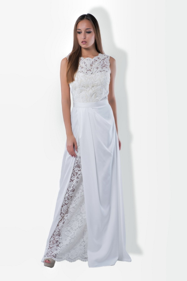 vestido de noiva 2015 sexy high neck white lace and chiffon wedding dress bridal gowns vb 39