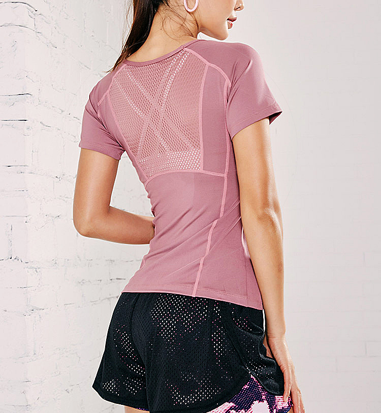 Custom Shirt Manufacturer Sweat Wicking Good Spandex Material Short Sleeve Fitness Yoga Top Shirt Women