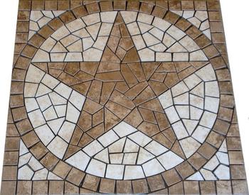 Travertine Texas Star Mosaic Medallion