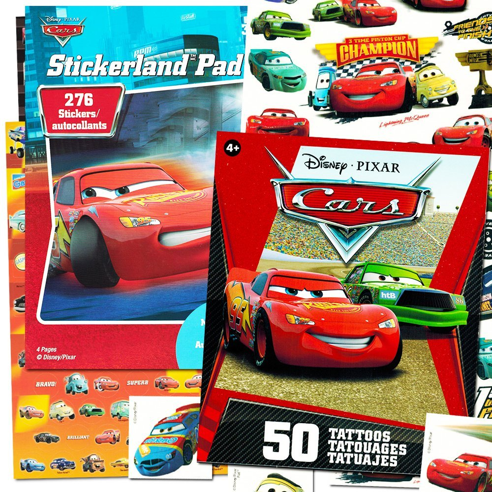 Disney/Pixar Cars Stickers & Tattoos Party Favor Pack (150 Stickers & 50 Temporary Tattoos)
