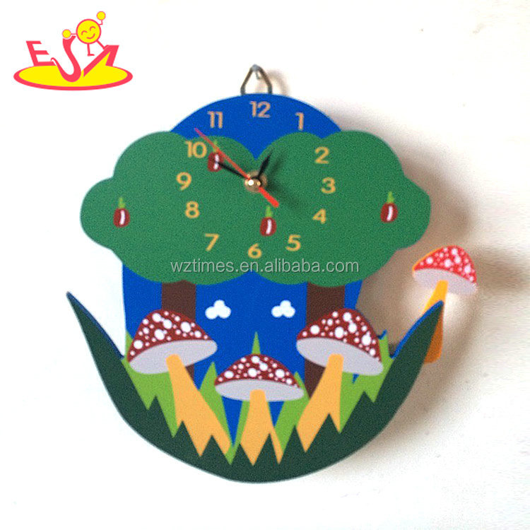 wholesale top fashion children wooden creative wall clock for sale W14K029