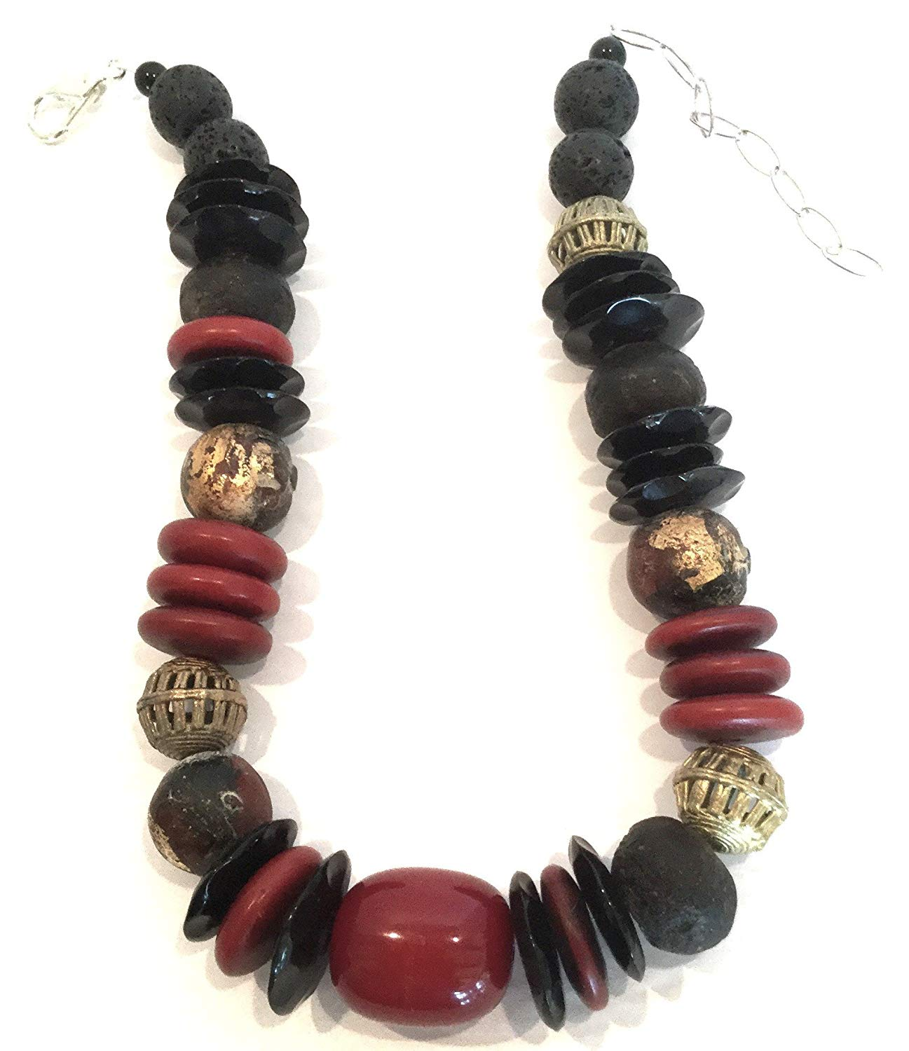 Hand Made Red Fibre Optics ,Coral and Vintage African Trading Beads Choker Necklace One of a kind Jewelry