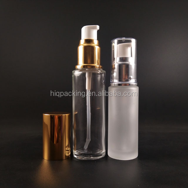 clear 50 ml 50ml serum bottle 15ml 20ml foundation glass cosmetic lotion pump bottle