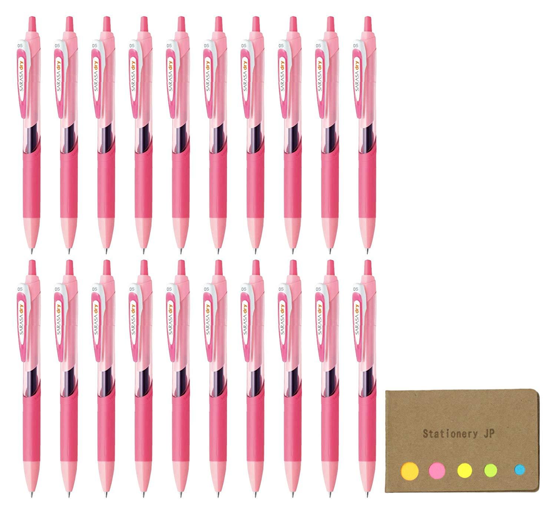 Zebra Sarasa Dry 0.5 Retractable Gel Ink Pen for left-handed, Rubber Grip, 0.5 mm Pink Body Black Ink, 20-pack, Sticky Notes Value Set