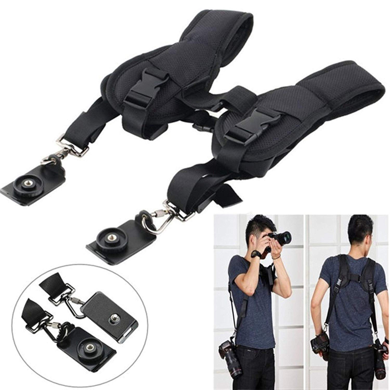 5139b564f663 Get Quotations · Double Shoulder Neck Strap with Sling Belt for Digital SLR  DSLR Camera
