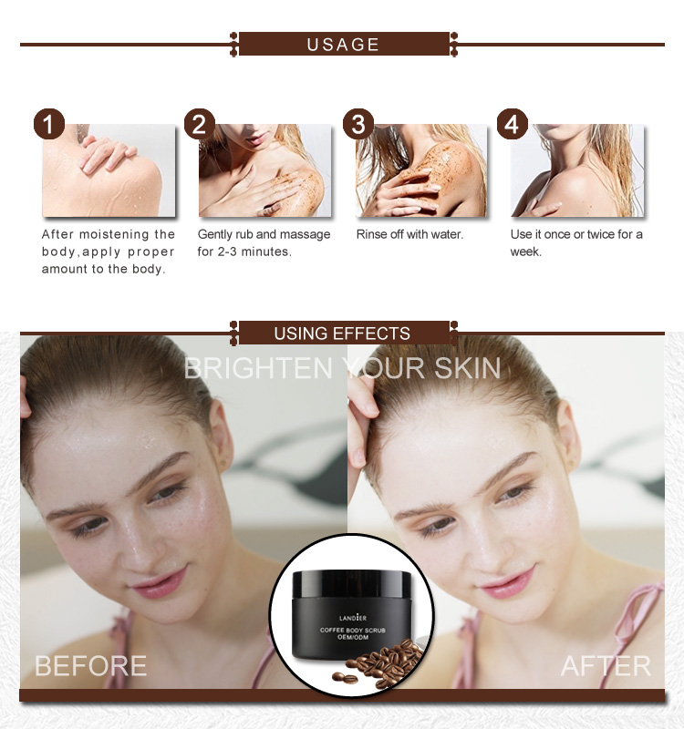 Private label best Exfoliating Cleansing medical coffee face body scrub