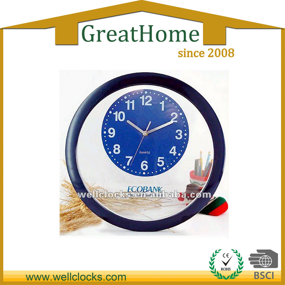 16 inch plastic transparent wall clocks special design