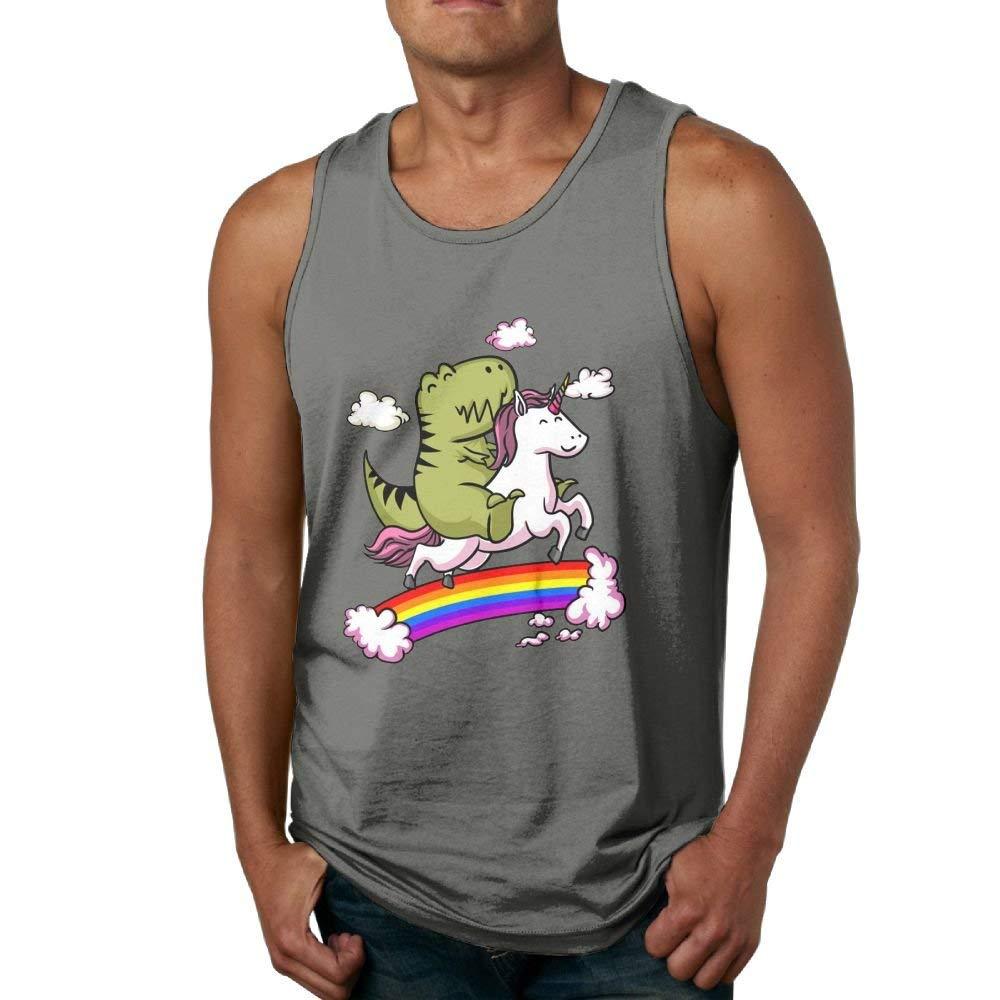 Newfood Ss T-Rex Dinosaur Riding Cartoon Unicorn Men's 100% Cotton Tank Top T-Shirt DeepHeather