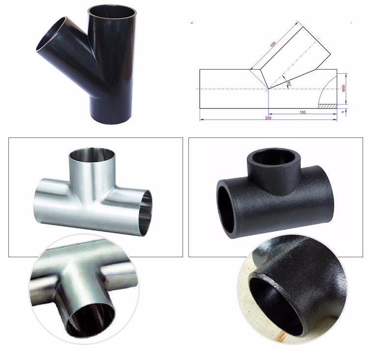 Stainless steel 347H pipe fittings butt welded tee