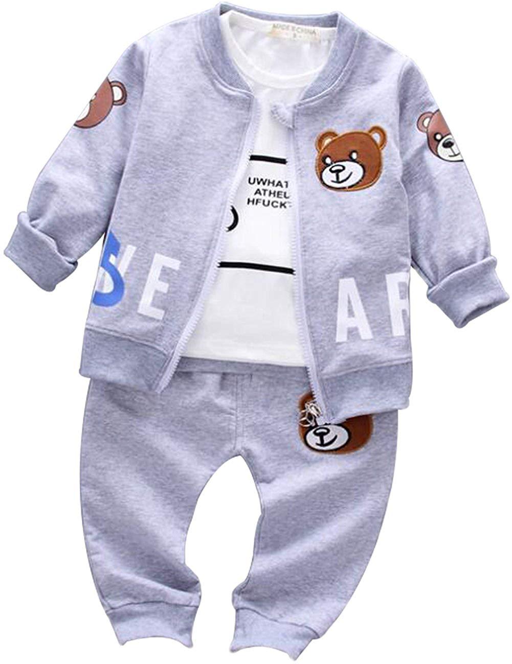 Kids Baby Boys Girls Cartoon Bear Jacket+Letters Print T-shirt+Pants 3Pcs Set