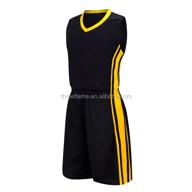 Sublimation Atmungsaktive 100% Polyester Custom Schwarz Basketball Jersey und Shorts