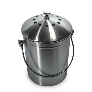 Stainless Steel Kitchen Compost Bin With Lid Includes Charcoal Filter