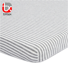 100% Cotton jersey knit mini baby crib sheet grey stripe bassinet fitted sheet