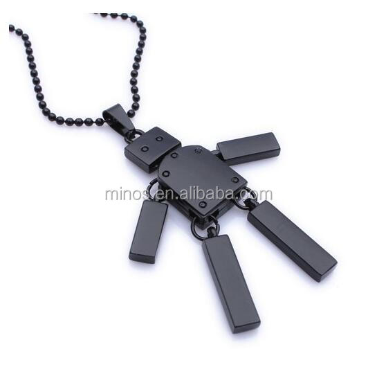 New Design Stainless Steel Robert Pendant, Cool Black Robot Mens Pendant Necklace