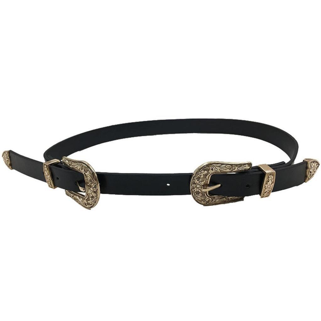 Fashion Women Waistband,kaifongfu Boho Metal Double Buckle Belt for Lady Vintage Waistband Metal PU Leather Waist Dress Belt (Gold)