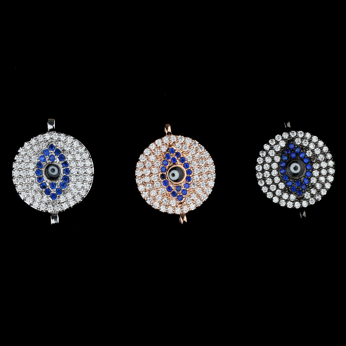 Hip hop mix color diamond cz paved rose gold evil eye jewelry, turkey evil eye wholesale