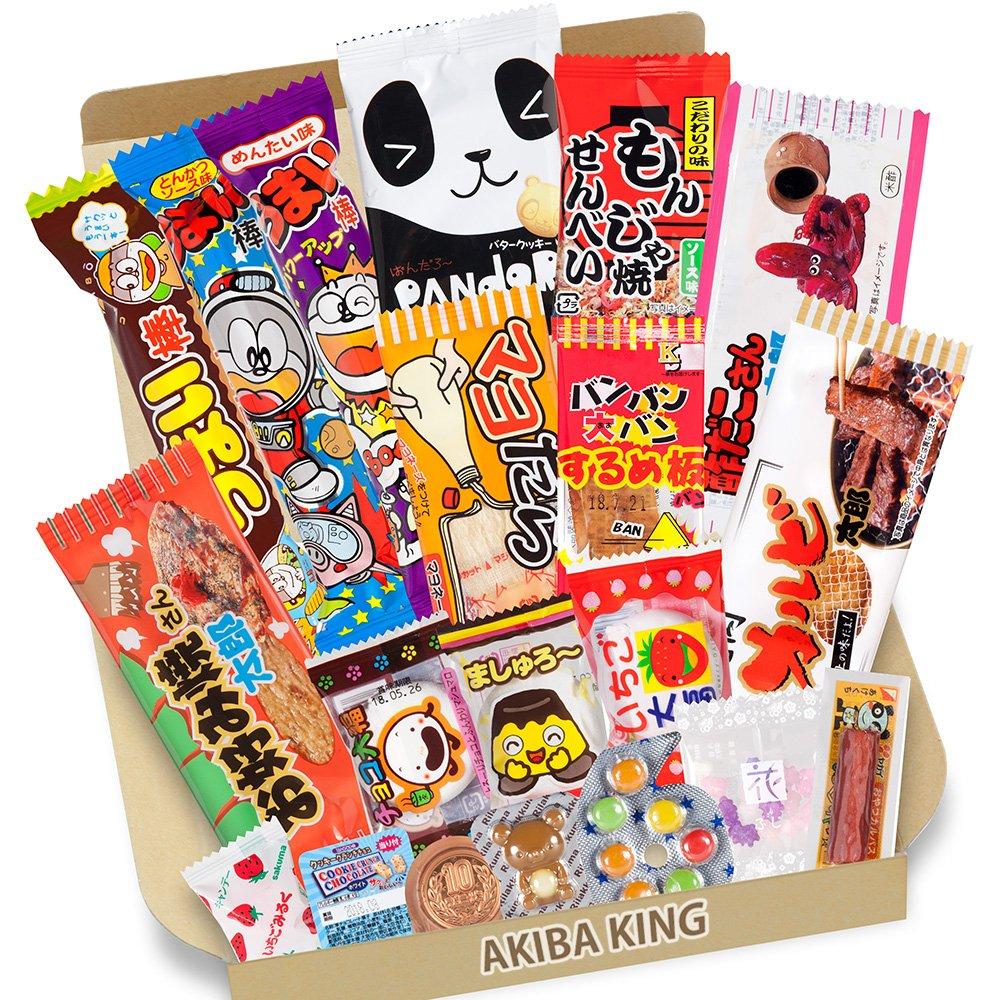 Trial Japanese Dagashi 20pcs Box 20pcs Umaibo Snack Gummy potato Chip Kitty chocolate w/ AKIBA KING Sticker