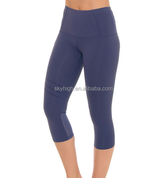 8db0f9e230985 Skin tight butt lift hidden pocket women 3/4 capris leggings yoga pants