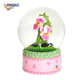 China wholesale OEM handmade polyresin office decorative home decor resin figures cute water globe kids flower snow globe