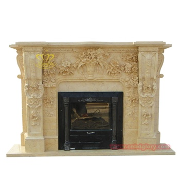 luxury stone products beautiful Beige Big marble fireplace