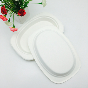 recycled molded fiber paper pulp oval lunch trays with certification