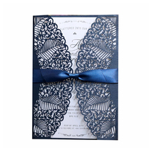 2019 Hot Selling Papier Materiaal En Gift Card Private Label Laser Cut Koreaanse Bruiloft Uitnodiging Kaart