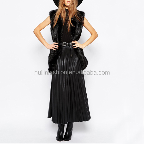 Women Fashion Sexy Shiny Pleated Faux Leather Skirt Tight Maxi ...