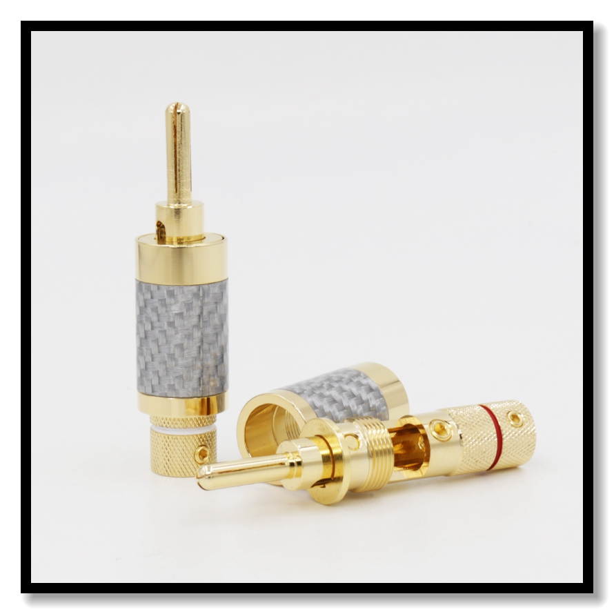 Speaker Cable Banana Copper Gold Plated Carbon Fiber Connector Locking Plug