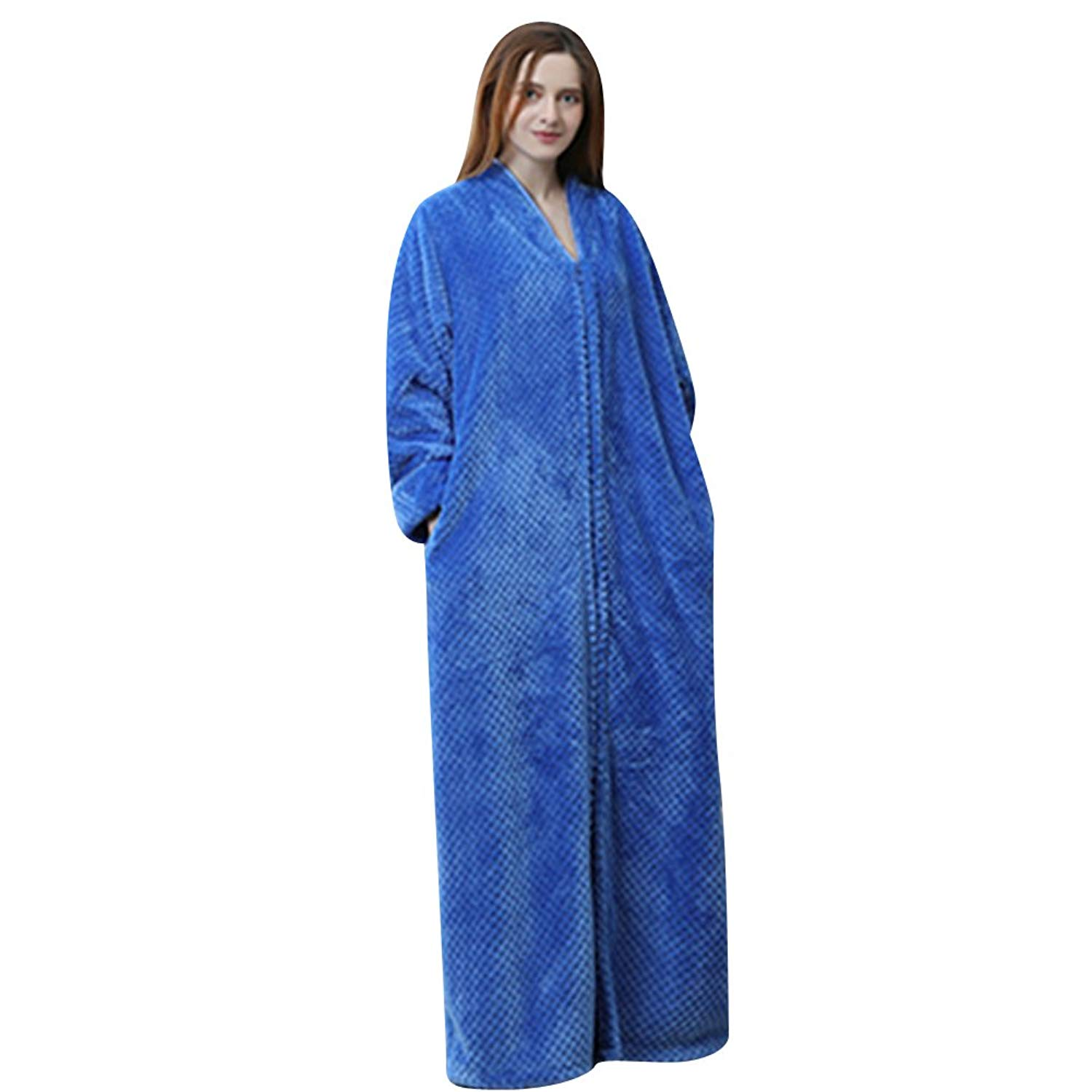 44d57bb230 Get Quotations · Necuv Womens Flannel Warm Long Robes Comfort Sleepwear  Bathrobes