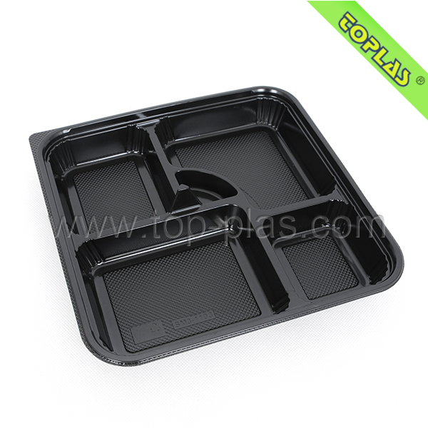 Disposable Plastic Divided Fast Food Tray With Lid