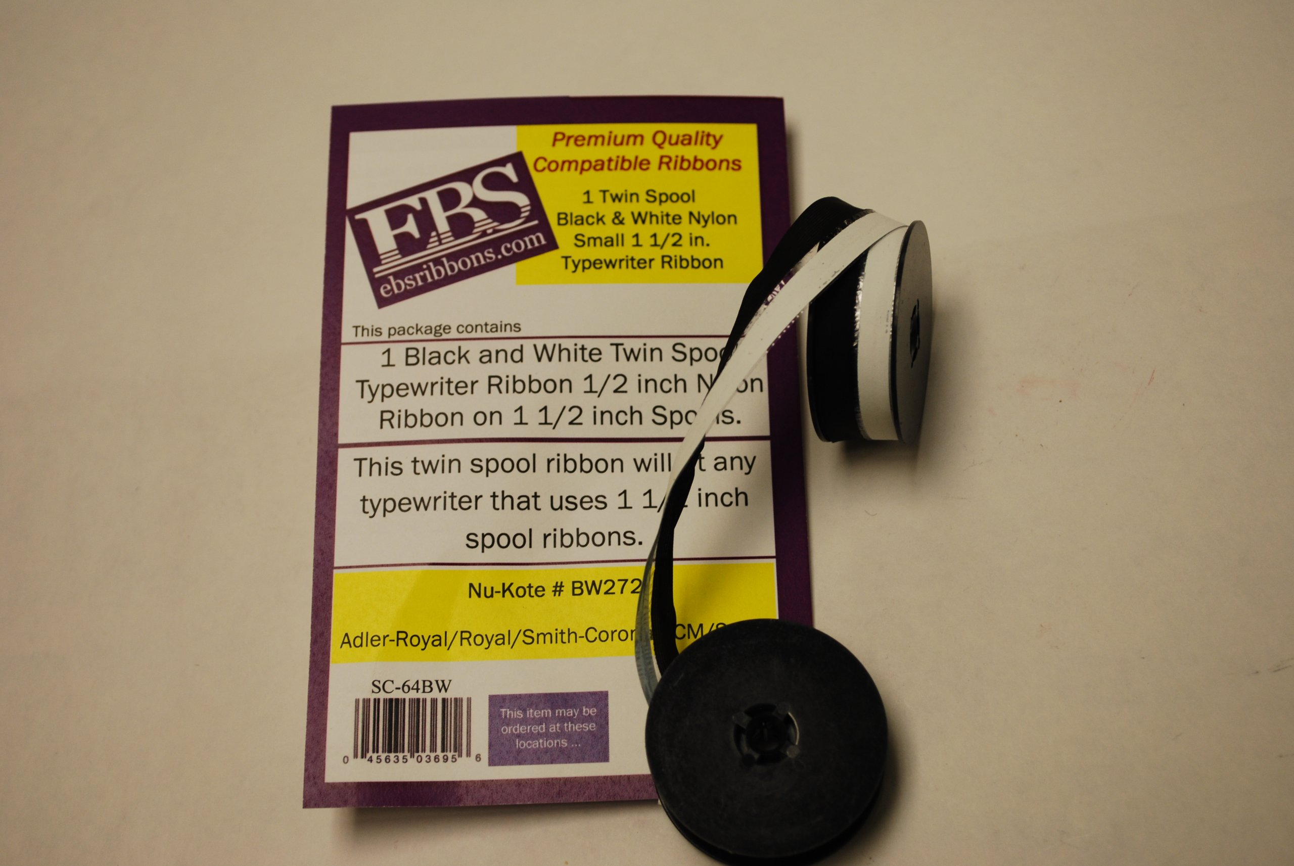 EBS Premium Quality Nylon Black & White 1.5in.Twin Spool Typewriter Ribbon Compatable with Nu-Kote #T42, #T46, and GRC #B29. Fits Adler, Royal, Smith-Corona, SCM & Sears. This twin spool ribbon will fit any typewriter that uses 1 1/2 inch spool ribbons.