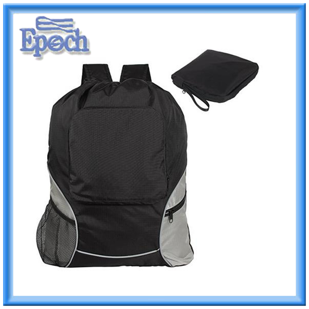 Foldable Sackpack Drawstring Backpack with Straps, Pockets, Reflective Tapes