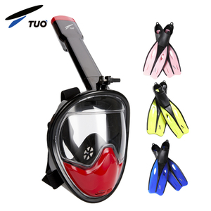 Child Adult Full Face Snorkel Mask Set With Fins In Diving Mask Black Silicone