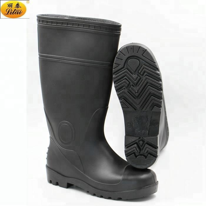 Black Plastic Safety Rain Boots