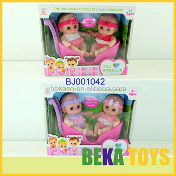 Hot Sale Lovely Cute Reborn Baby Doll Twin Small Baby Doll Pram