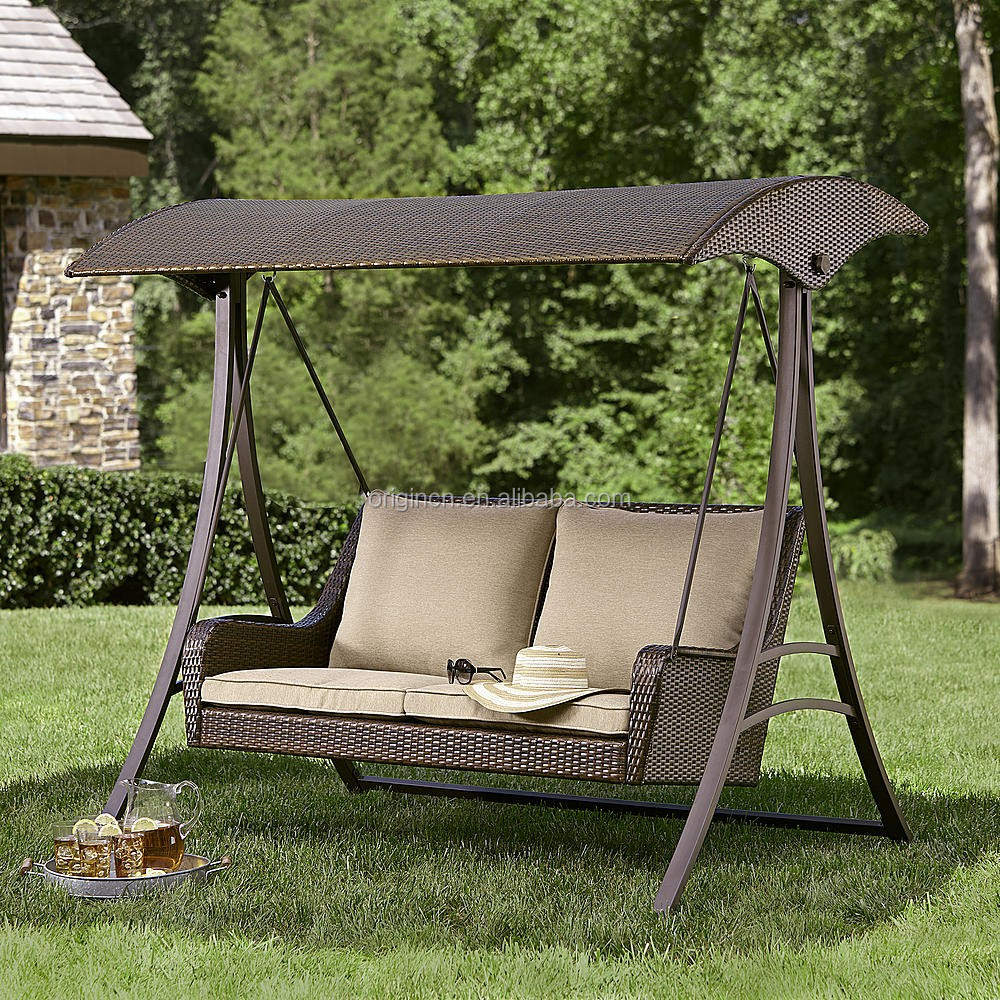 2016 England Style Rattan Garden Swing With Canopy Outdoor Hanging Chair  Sets For Adults