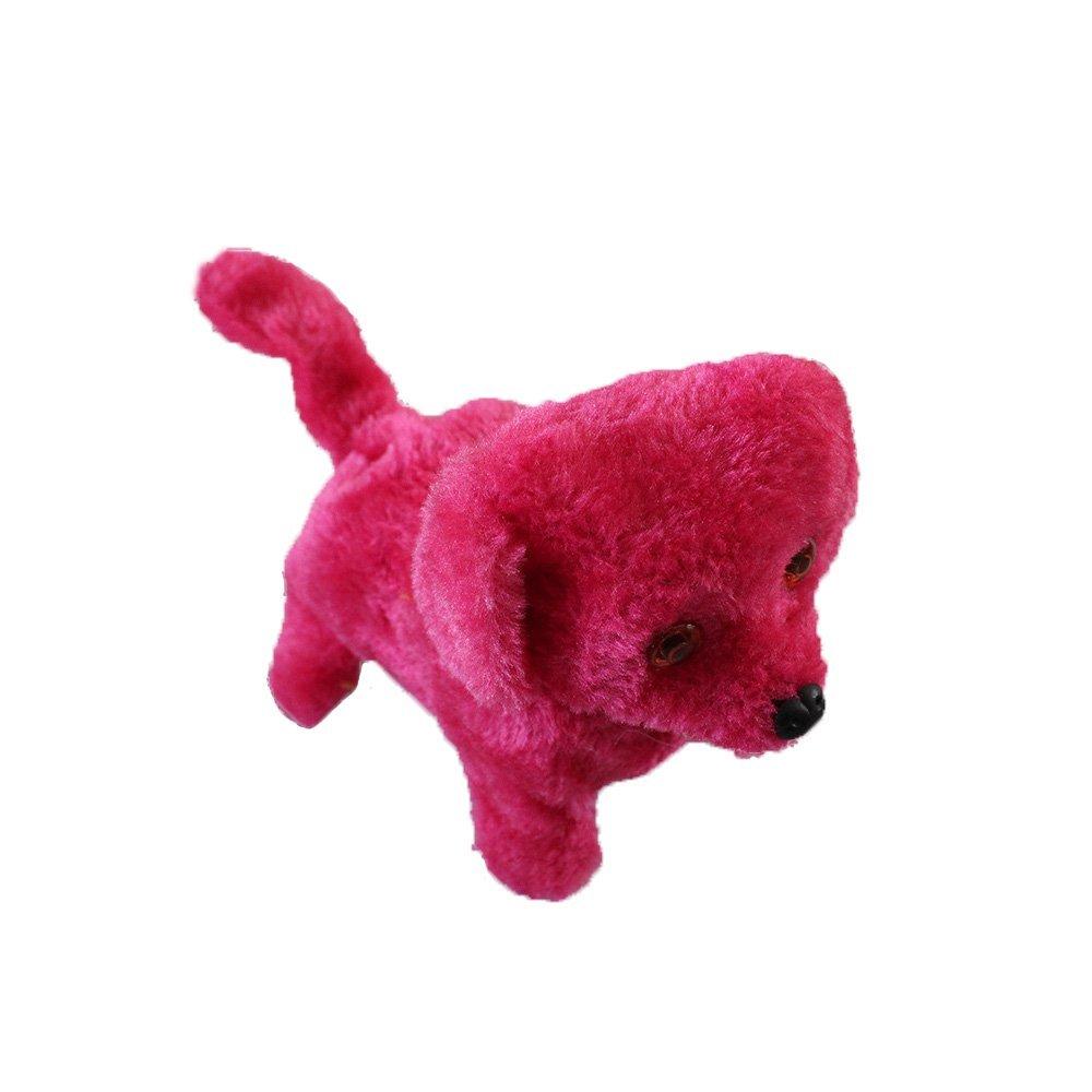 CUGBO Walking Barking Dog Plush Stuff Pet Puppy Kids Toy Sound and Light Electronic Dog Toy ,Battery Powered(Fuchsia)