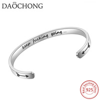 Inspirational Keep Going Sterling Silver 925 Bracelet for Women Adjustable Chain Design 17.5 cm+2 cm