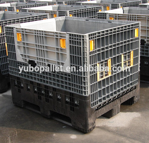 Manufacturer wholesale 4 way-entry stacking collapsible plastic pallet container solid folding crate